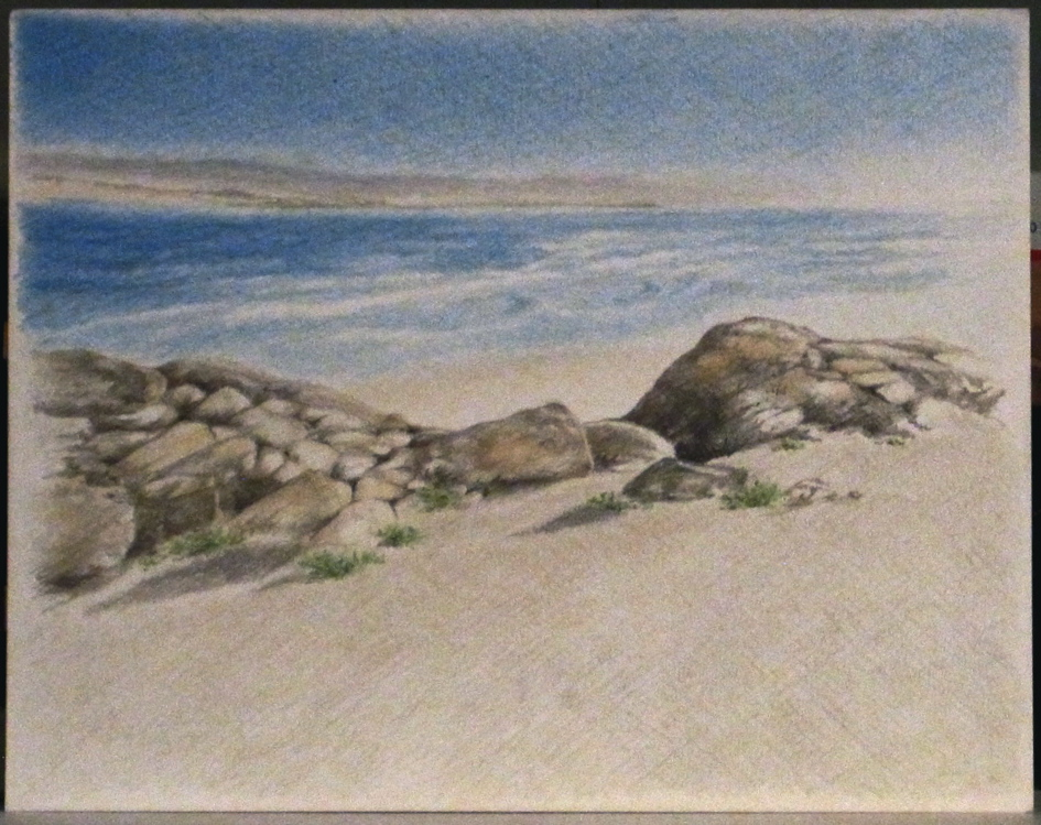 Beach Landscape Pencil Drawing